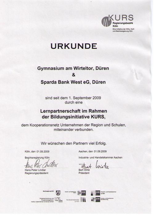 Sparda-Bank Urkunde